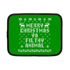 Ugly Christmas Sweater Netbook Case (Small)  by Onesevenart