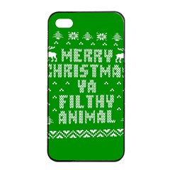 Ugly Christmas Sweater Apple Iphone 4/4s Seamless Case (black) by Onesevenart
