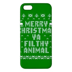 Ugly Christmas Sweater Apple Iphone 5 Premium Hardshell Case by Onesevenart
