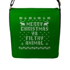 Ugly Christmas Sweater Flap Messenger Bag (l)  by Onesevenart