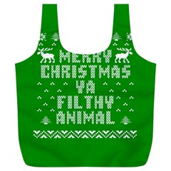 Ugly Christmas Sweater Full Print Recycle Bags (l)  by Onesevenart