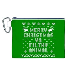 Ugly Christmas Sweater Canvas Cosmetic Bag (l) by Onesevenart