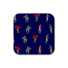 Drake Ugly Holiday Christmas Rubber Square Coaster (4 Pack)  by Onesevenart