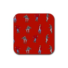 Drake Ugly Holiday Christmas Rubber Coaster (square)  by Onesevenart