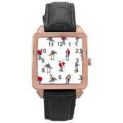 Drake Ugly Holiday Christmas Rose Gold Leather Watch  by Onesevenart