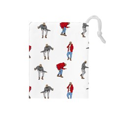 Drake Ugly Holiday Christmas Drawstring Pouches (medium)  by Onesevenart