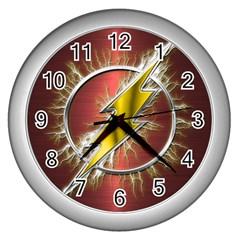 Flash Flashy Logo Wall Clocks (silver)  by Onesevenart