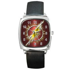 Flash Flashy Logo Square Metal Watch by Onesevenart
