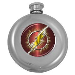 Flash Flashy Logo Round Hip Flask (5 Oz) by Onesevenart