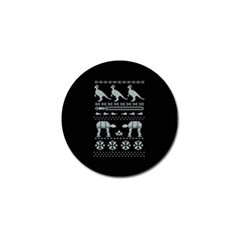 Holiday Party Attire Ugly Christmas Black Background Golf Ball Marker by Onesevenart