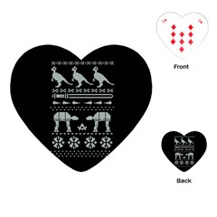 Holiday Party Attire Ugly Christmas Black Background Playing Cards (heart)  by Onesevenart