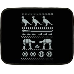 Holiday Party Attire Ugly Christmas Black Background Fleece Blanket (mini) by Onesevenart