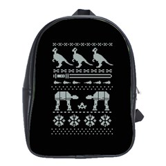 Holiday Party Attire Ugly Christmas Black Background School Bags(large)  by Onesevenart