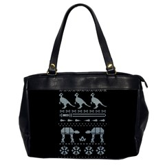 Holiday Party Attire Ugly Christmas Black Background Office Handbags by Onesevenart
