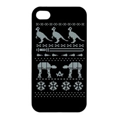 Holiday Party Attire Ugly Christmas Black Background Apple Iphone 4/4s Premium Hardshell Case by Onesevenart