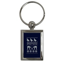 Holiday Party Attire Ugly Christmas Blue Background Key Chains (rectangle)  by Onesevenart