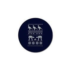 Holiday Party Attire Ugly Christmas Blue Background Golf Ball Marker (10 Pack) by Onesevenart