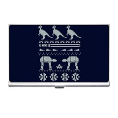 Holiday Party Attire Ugly Christmas Blue Background Business Card Holders by Onesevenart
