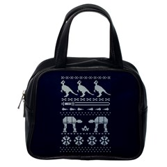 Holiday Party Attire Ugly Christmas Blue Background Classic Handbags (one Side) by Onesevenart