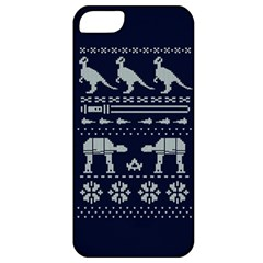 Holiday Party Attire Ugly Christmas Blue Background Apple Iphone 5 Classic Hardshell Case by Onesevenart