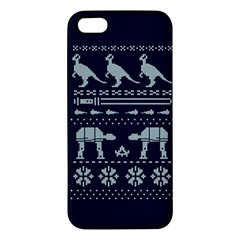 Holiday Party Attire Ugly Christmas Blue Background Apple Iphone 5 Premium Hardshell Case by Onesevenart