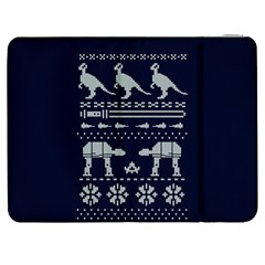 Holiday Party Attire Ugly Christmas Blue Background Samsung Galaxy Tab 7  P1000 Flip Case by Onesevenart