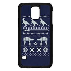 Holiday Party Attire Ugly Christmas Blue Background Samsung Galaxy S5 Case (black) by Onesevenart