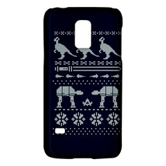 Holiday Party Attire Ugly Christmas Blue Background Galaxy S5 Mini by Onesevenart