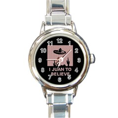 I Juan To Believe Ugly Holiday Christmas Black Background Round Italian Charm Watch by Onesevenart
