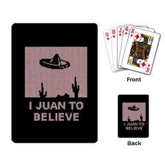 I Juan To Believe Ugly Holiday Christmas Black Background Playing Card by Onesevenart