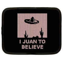 I Juan To Believe Ugly Holiday Christmas Black Background Netbook Case (xl)  by Onesevenart