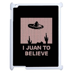 I Juan To Believe Ugly Holiday Christmas Black Background Apple Ipad 2 Case (white) by Onesevenart