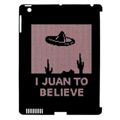 I Juan To Believe Ugly Holiday Christmas Black Background Apple Ipad 3/4 Hardshell Case (compatible With Smart Cover) by Onesevenart