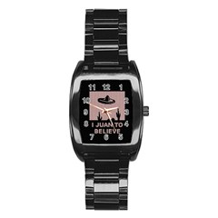 I Juan To Believe Ugly Holiday Christmas Black Background Stainless Steel Barrel Watch by Onesevenart