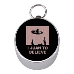 I Juan To Believe Ugly Holiday Christmas Black Background Mini Silver Compasses by Onesevenart