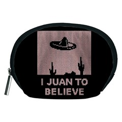 I Juan To Believe Ugly Holiday Christmas Black Background Accessory Pouches (medium)  by Onesevenart