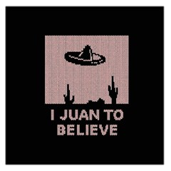 I Juan To Believe Ugly Holiday Christmas Black Background Large Satin Scarf (square) by Onesevenart