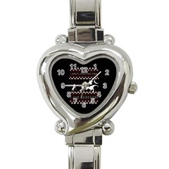 I Wasn t Good This Year, I Was Awesome! Ugly Holiday Christmas Black Background Heart Italian Charm Watch by Onesevenart