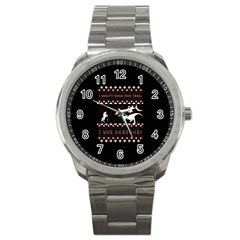 I Wasn t Good This Year, I Was Awesome! Ugly Holiday Christmas Black Background Sport Metal Watch by Onesevenart