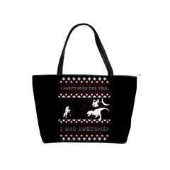 I Wasn t Good This Year, I Was Awesome! Ugly Holiday Christmas Black Background Shoulder Handbags by Onesevenart