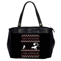 I Wasn t Good This Year, I Was Awesome! Ugly Holiday Christmas Black Background Office Handbags (2 Sides)  by Onesevenart