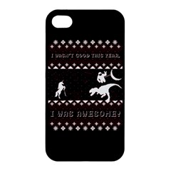 I Wasn t Good This Year, I Was Awesome! Ugly Holiday Christmas Black Background Apple Iphone 4/4s Hardshell Case by Onesevenart