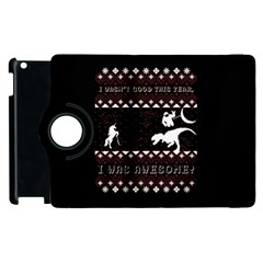 I Wasn t Good This Year, I Was Awesome! Ugly Holiday Christmas Black Background Apple Ipad 2 Flip 360 Case by Onesevenart
