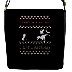 I Wasn t Good This Year, I Was Awesome! Ugly Holiday Christmas Black Background Flap Messenger Bag (s) by Onesevenart