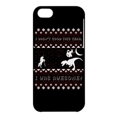 I Wasn t Good This Year, I Was Awesome! Ugly Holiday Christmas Black Background Apple Iphone 5c Hardshell Case by Onesevenart