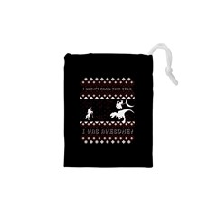 I Wasn t Good This Year, I Was Awesome! Ugly Holiday Christmas Black Background Drawstring Pouches (XS)