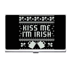 Kiss Me I m Irish Ugly Christmas Black Background Business Card Holders by Onesevenart