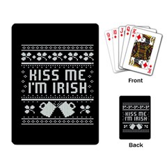 Kiss Me I m Irish Ugly Christmas Black Background Playing Card by Onesevenart