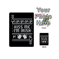 Kiss Me I m Irish Ugly Christmas Black Background Playing Cards 54 (mini)  by Onesevenart