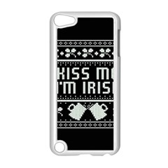 Kiss Me I m Irish Ugly Christmas Black Background Apple Ipod Touch 5 Case (white) by Onesevenart